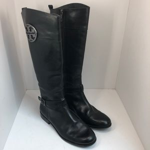 Tory Burch Riding Boots with Emblem on the Outside